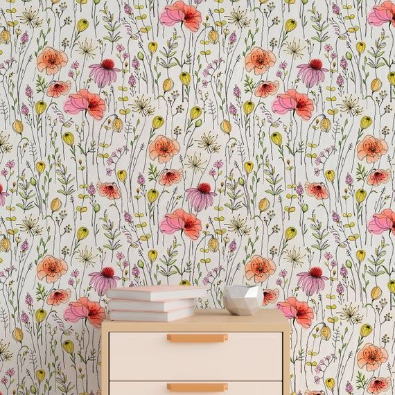 Removable Wallpaper Peel And Stick Wallpaper Wall Paper Wall Etsy Vintage Floral Wallpapers Wall Wallpaper Floral Wallpaper