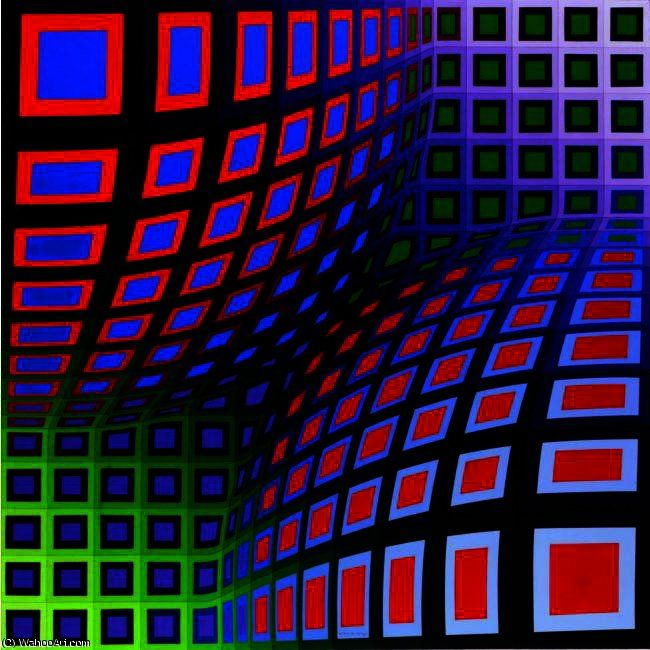 OND-II-VA, Oil by Victor Vasarely (1906-1997, Hungary)