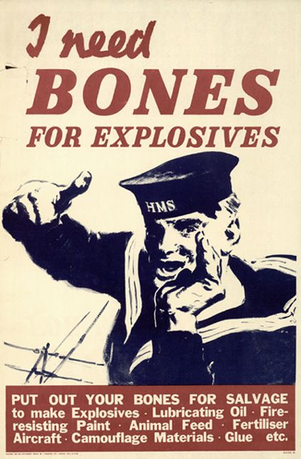 bones for explosives, wartime poster