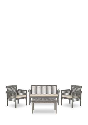 Safavieh Carson 4-Piece Outdoor Furniture Set - Grey Wash/Beige - 26 In.