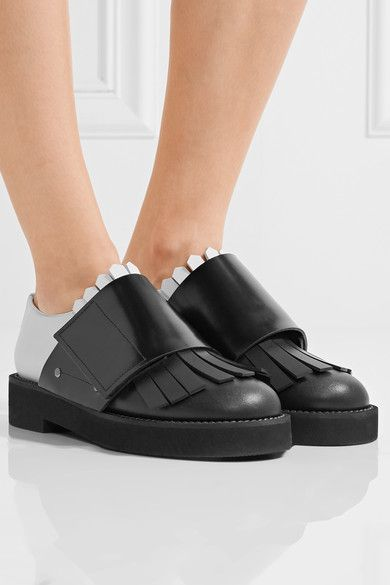 Heel measures approximately 30mm/ 1 inch Black and white leather  Velcro®-fastening strap Made in Italy