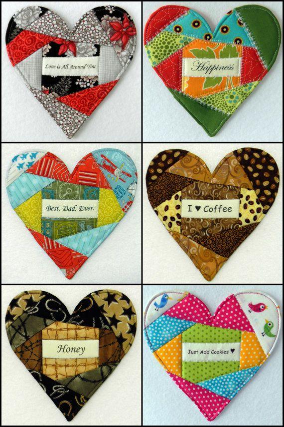 HEART Mug Rug 58 Messages of Love & Caring by DoodleTimeDesigns