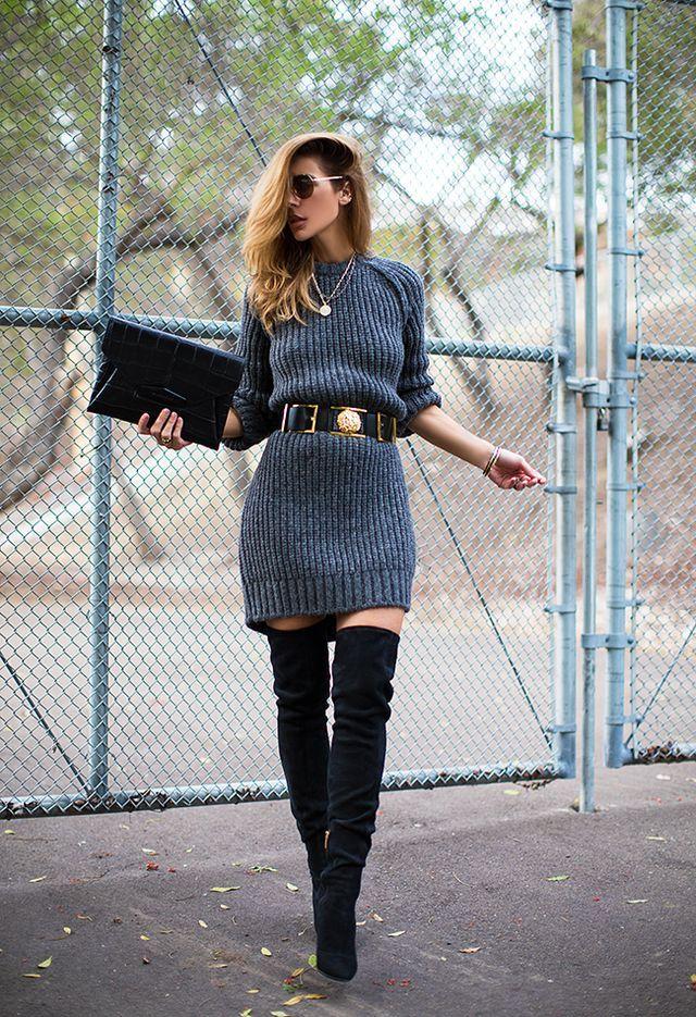 19 Outfit Ideen, um Ihre Strickkleider zu tragen