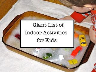 Indoor Activities For Kids -- giant list ranging from art, sensory, math, science ideas and more.