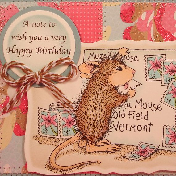 Mouse Birthday Card with House Mouse Design of Mouse Licking a Stamp