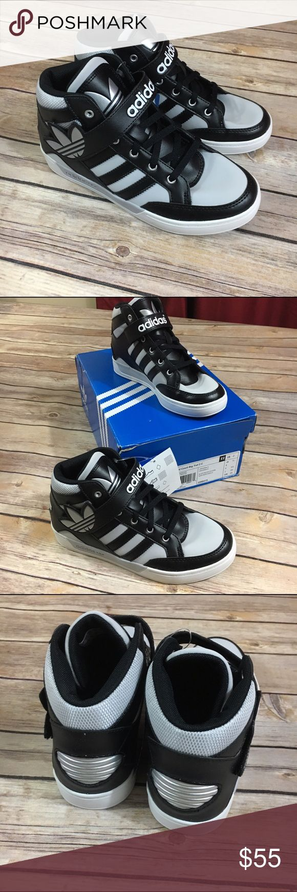 Adidas Hard Court Big Tref 2 Black Silver NEW NIB Adidas Hard Court Big Tref 2 Black Silver NEW NIB  Beautiful high top sneakers with hook and loop fastener and lace up.  New condition.  #adidas #hardcourt #bigtref #black #silver #hightops #basketball #kicks #coolkicks #new #nib #shoes #basketballshoes Adidas Shoes Sneakers