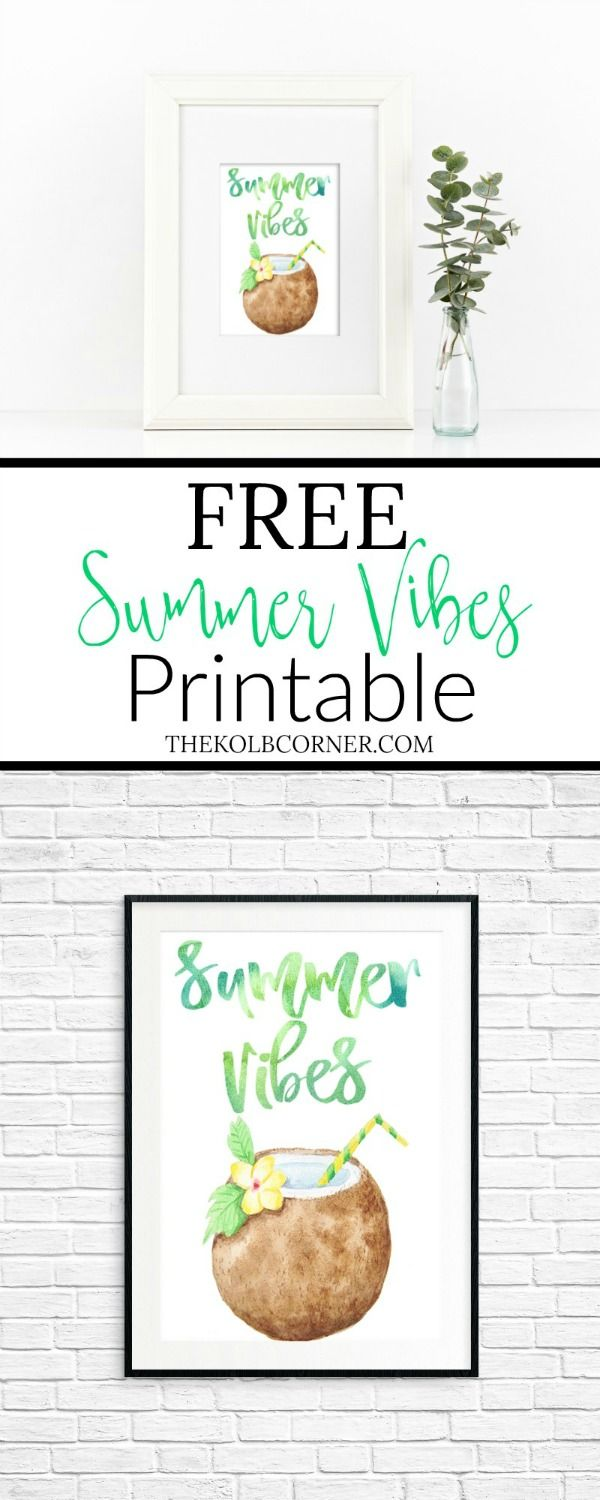 Free summer watercolor printable featuring a fun brush script font, bold green and blue hues and a beachy drink.