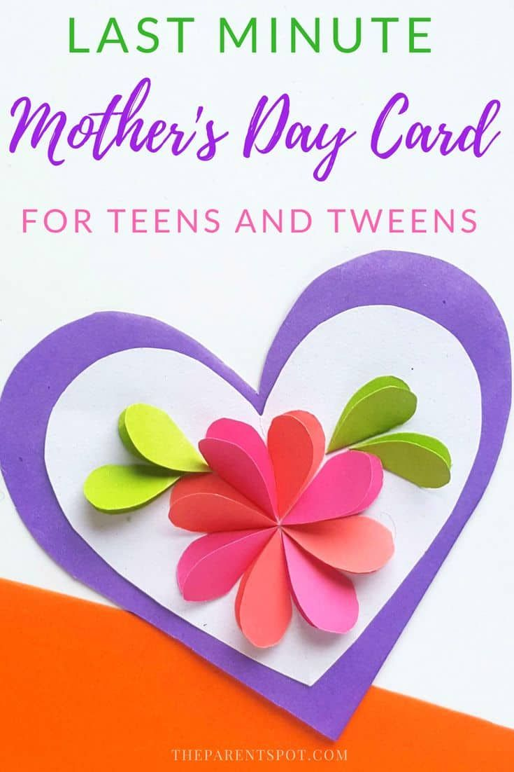 Easy Paper Heart Card Mother S Day Craft For Teens Mothers Day