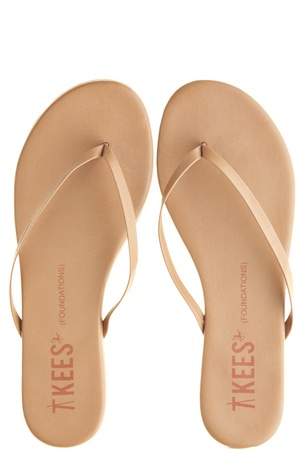 T KEES FLIP FLOPS IN COCO BUTTER: in summer a nude flip flop with a flexible rubber sole is my absolute go-to at home. ($55.00)