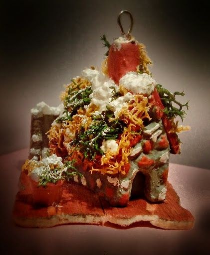 hand made miniature polymer clay house wall/snow/chimney/preserved moss/plant/wood /wire