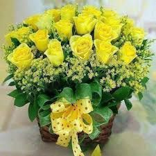 Bright yellow roses basket