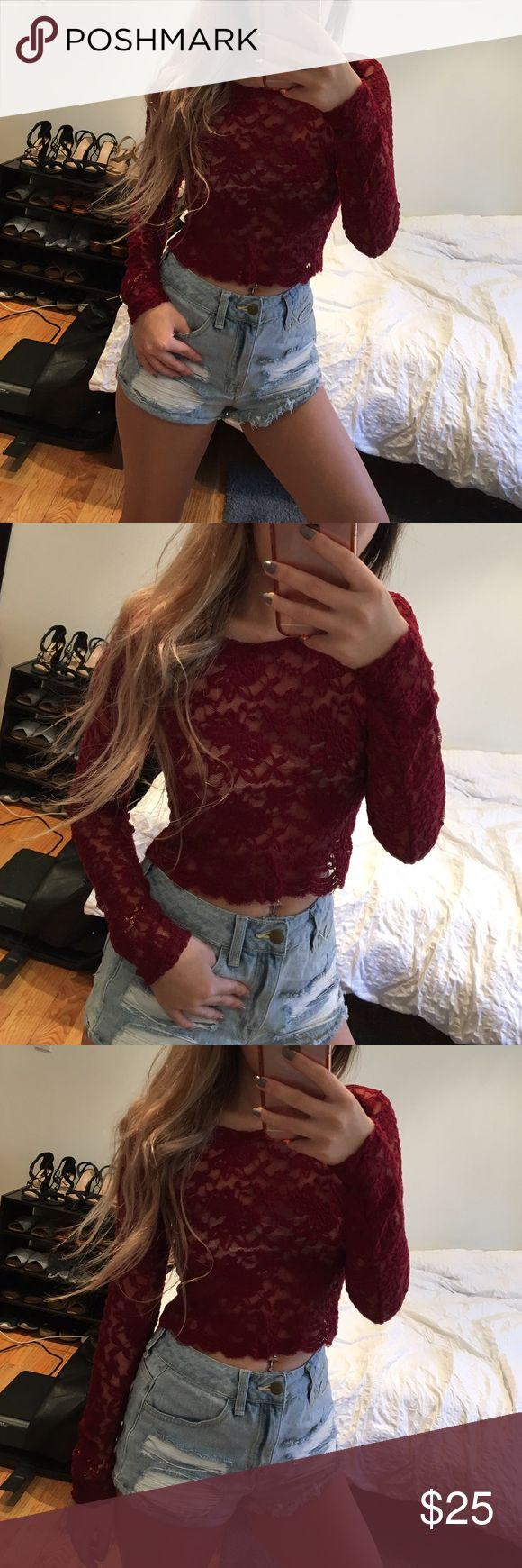 Maroon Floral Laced Crop Top Comes with a beige bandeau. Excellent condition. Feel free to make an offer. No Trades. Forever 21 Tops Crop Tops