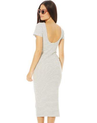Stripe Scoop Back Midi Dress NZ $50