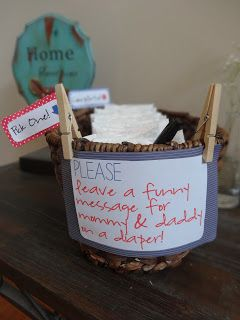 """Hilarious baby shower idea!  Have guests write funny messages to mom & dad on the bottom of a diaper - """"Bottom's up!"""""""
