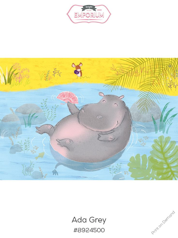 #hippo #nursery #art by @adagrey and is part of our new #exhibition #love the #book #buy the #print For more info, have a look at our website http://www.thebrightemporium.com/printsandproducts/print-on-demand/