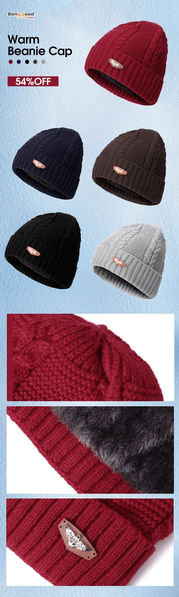 54%OFF&Free shipping. Men Cap,  Knitted Hat, Beanie Cap, Outdoor Hats, Warm&Fashion. Color: Black, Navy, Grey, Wine Red. Shop now~