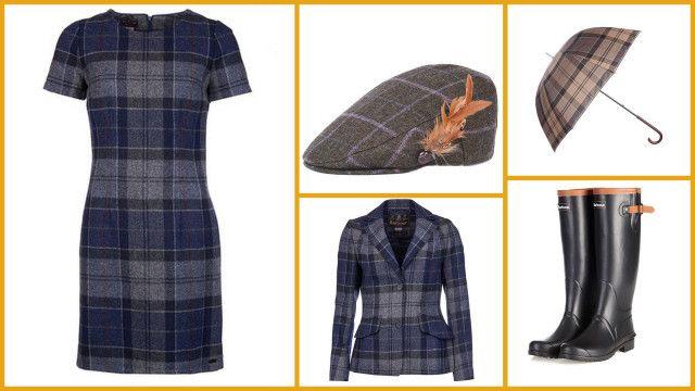 Oldany Dress + Beaman Tailored Blazer Jacket + Tweed Flat Cap + Blyth Wellington Boots + Tartan Ladies Umbrella, all Barbour  #мода #стиль #сочиняемнаряд #платье #жакет #головныеуборы #кепка #обвуь #сапоги #зонт #fashion #style #outfit #barbour #dress #jacket #boots #cap #umbrella