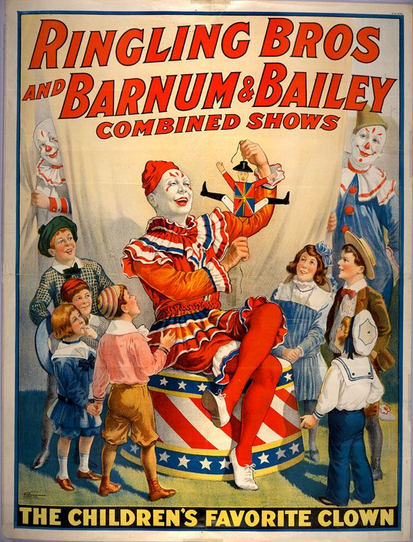 Ringling Bros and Barnum & Bailey combined shows circus poster (1920)