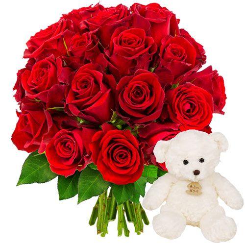 Florajet est fier de vous présenter cette jolie brassée de roses rouges, symbole d'amour et de passion. Un cadeau inoubliable qui saura transmettre vos sentiments les plus sincères.Adorable ourson traditionnel apprécié des petits et des grands qui s'autorisent un petit retour à l'enfance. Facile à attraper, tout doux et très câlin, ce très beau doudou deviendra rapidement l'ami incontournable de bébé grâce à son extrême douceur, sa taille rassurante et son air malicieux.