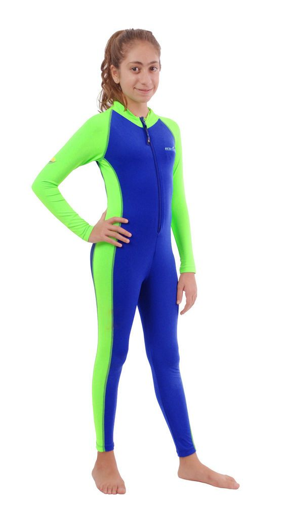 GIRLS JUNIOR UV PROTECTIVE SWIMSUIT FULL BODY COVER UP SUIT BLUE LIME #ecostinger #Swimsuit