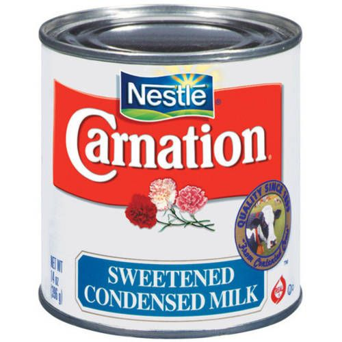 Carnation Sweetened Condensed Milk, 14oz...  they're similar in consistency, condensed milk is 40-45% sugar, while evaporated milk is not sweetened. Description from shaveicelove.wordpress.com. I searched for this on bing.com/images