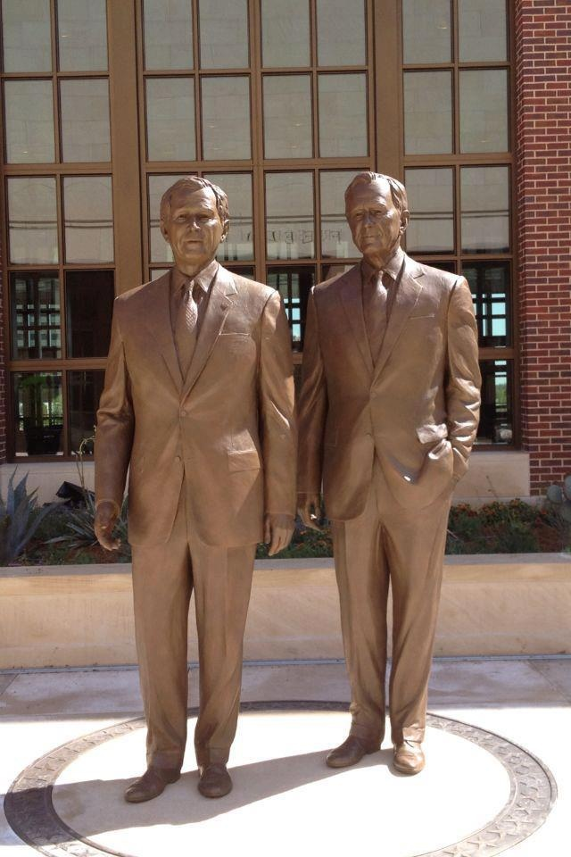 Statues of George W. Bush and George H.W. Bush at the new George W. Bush Presidential Center