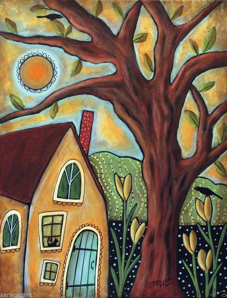 Cottage 11x14 inch ORIGINAL Canvas PAINTING Landscape FOLK ART Karla Gerard...for sale, just added to store, ready to hang...