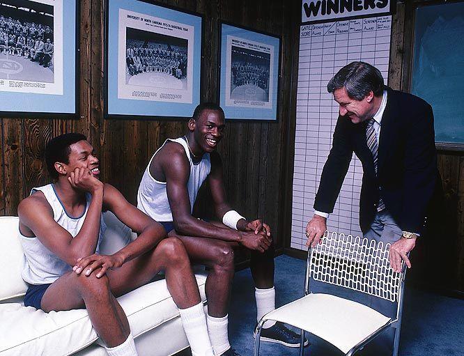 Sam Perkins, Michael Jordan and Dean Smith, 1983