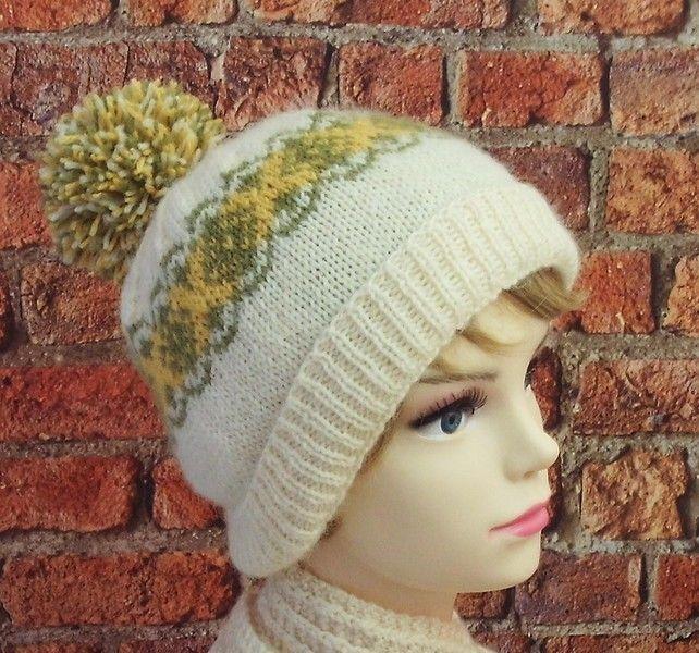 SALE British Exmoor Horn wool cream green and yellow bobble hat winter ski hat £20.00