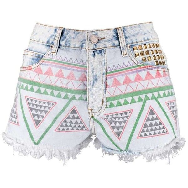 Boohoo Petite Laura Aztec Frayed Edge Denim Shorts ($16) ❤ liked on Polyvore
