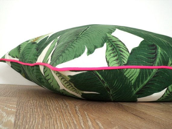 Banana leaf throw pillow case Hollywood Regency Decor, swaying palm leaf outdoor cushion pink piping Palm Beach , green tropical pillow on Etsy, $44.00