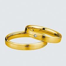Verighete din aur galben cu briliante.  Cu interiorul bombat, pentru un confort maxim la purtare