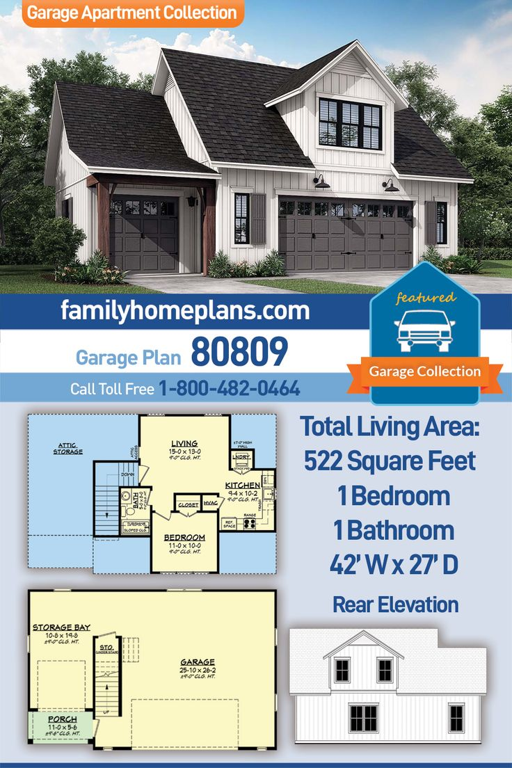 Three Car Garage Apartment With 522 Sq Ft Heated Space One Bedroom And One Bathroom Garage Apartment Plan Garage Apartments Barn House Plans