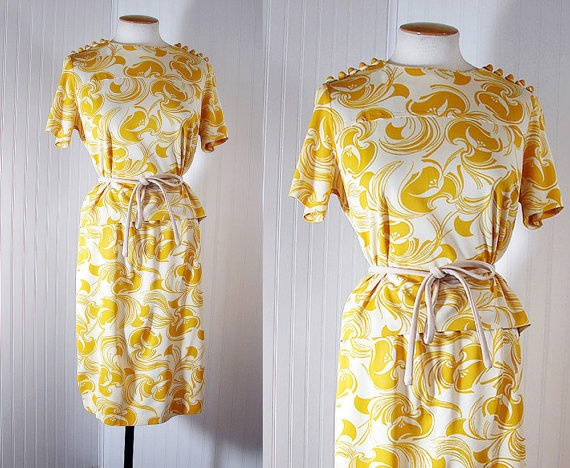 1960s dress miss dijon vintage mustard yellow and white. Black Bedroom Furniture Sets. Home Design Ideas