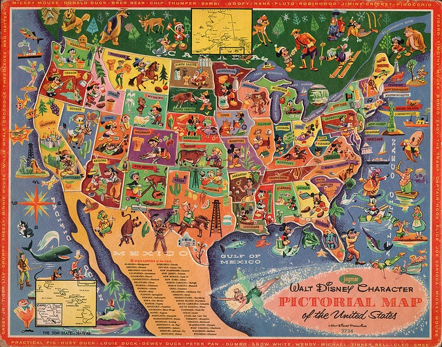Walt Disney character pictorial map of the United States by Jaymar 1960s by