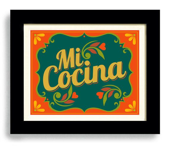 Mexican Kitchen Art Print Decor I Love My Kitchen Wall by DexMex, $18.00