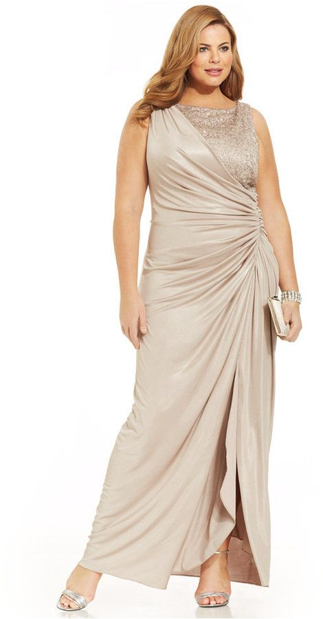 Adrianna Papell Plus Size Draped Metallic Gown   | ≼❃≽ @kimludcom