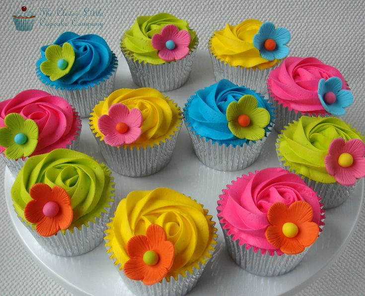 The brightest colours look fab on cupcakes! From Manchester's The Clever Little Cupcake Company, www.cleverlittlecupcake.co.uk