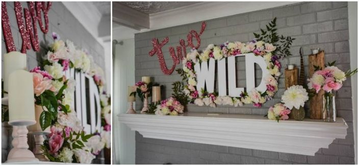 In Two the Wild or Two Wild second birthday toddler party. Floral sign mantle design for the win!! www.sbdva.com