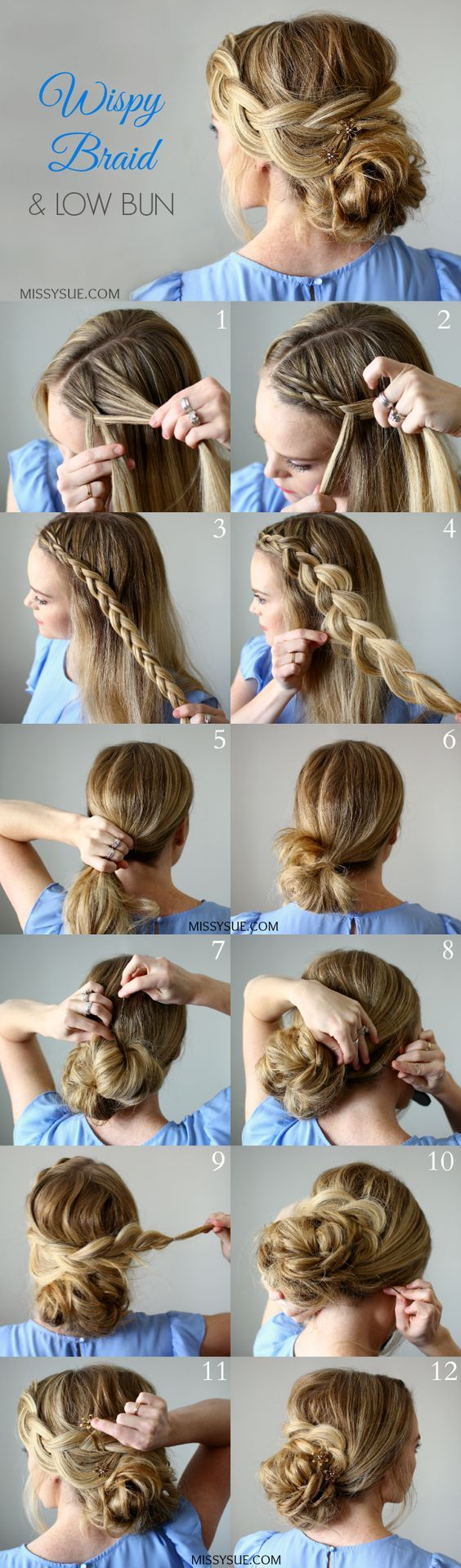 Wispy Braid and Low Bun: