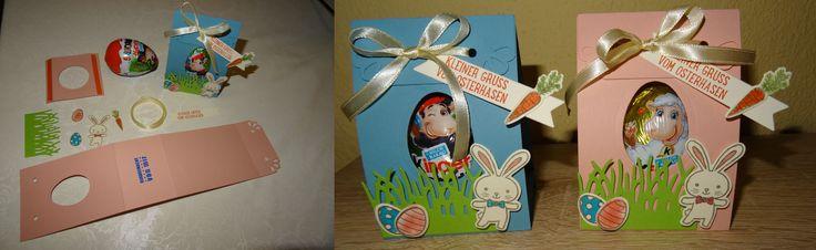 Stampin up SU Anleitung auf dieser Pinwand bereits auf einem anderen Bild zu sehen Kinderüberraschung Ü-Ei Überraschungsei Verpackung Box Osterkörbchen Osterhasen Osterverpackung Ostern Geschenke SWAP