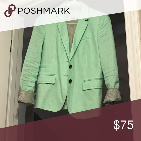 J crew mint green linen blazer 00 Worn once. Amazing color! Practically new. J. Crew Jackets & Coats Blazers