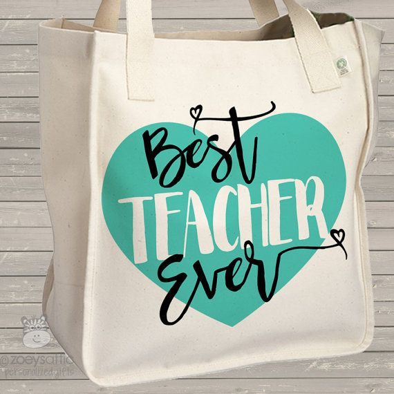 Teacher tote bag best teacher ever school bag by zoeysattic