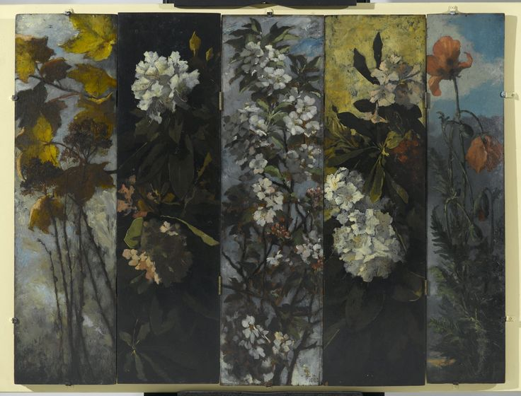 Elizabeth Boott Duveneck, American, 1846-1888. Autumn Foliage,Oil on wood panel, 1882. Individual Panel: 35 15/16 x 10 in. (91.3 x 25.4 cm) Framed with other panels: 36 x 47 1/2 in. (91.4 x 120.7 cm). Brooklyn Museum