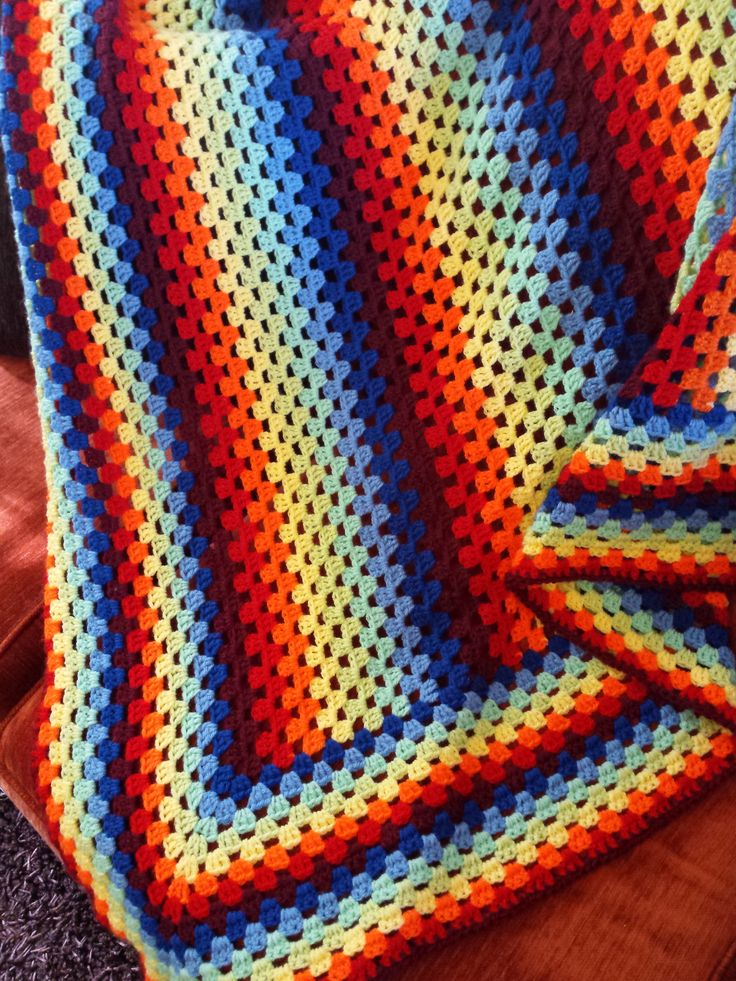 This is my first attempt to crochet a blanket for my son! Granny's stripes is a super easy way to do this!!!
