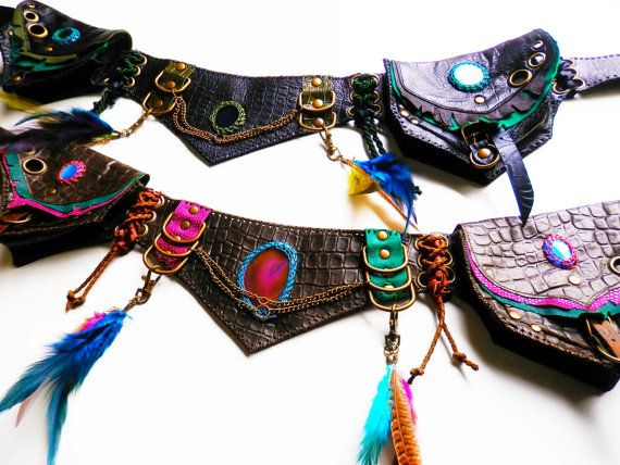 QUETZAL 3 - handmade leather utility belt with 5 pockets - burning man festival boho hippie tribal gypsy belt pouch - Custom made to order