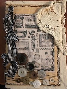 Handmade Shabby Chic Vintage Sewing theme Junk Journal . Neutral colors | eBay