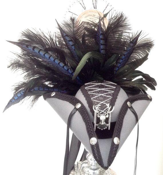 Steampunk pirate hat silver stag and corset costume Tricorn