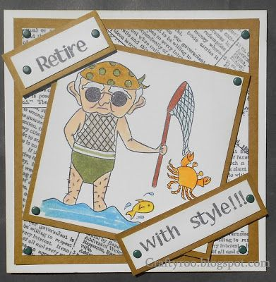 A cheeky retirement card made using stamps from Nina Crafts