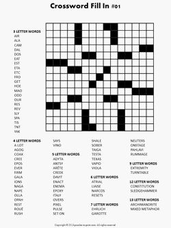 Crossword Fill In Puzzle 1